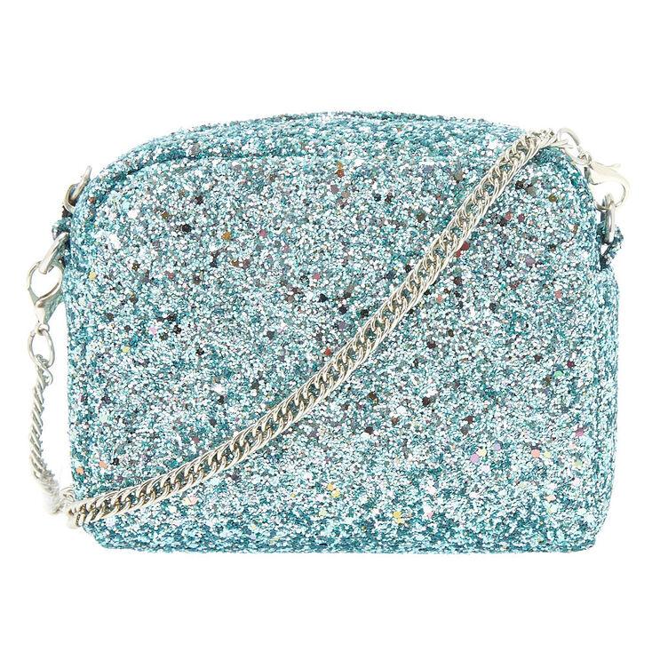 Mini Glitter Crossbody Bag - Aqua,