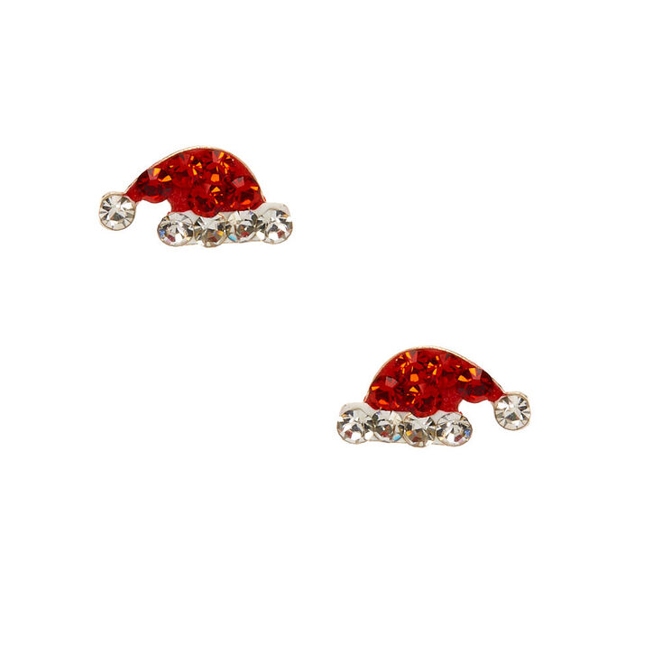Sterling Silver Crystal Santa Hat Stud Earrings,