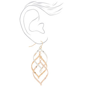 "Mixed Metal 2.5"" Swirl Drop Earrings,"
