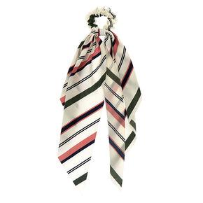 Green & Pink Striped Scarf Hair Scrunchie,