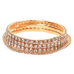 Rose Gold Rhinestone Stretch Bracelets - 5 Pack,