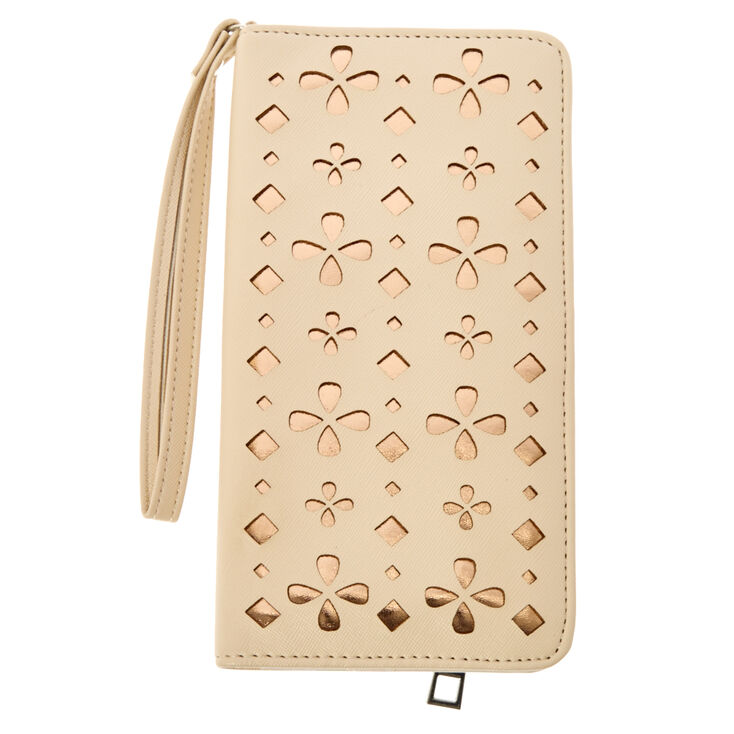 Nude & Gold Perforated Tech Wristlet,