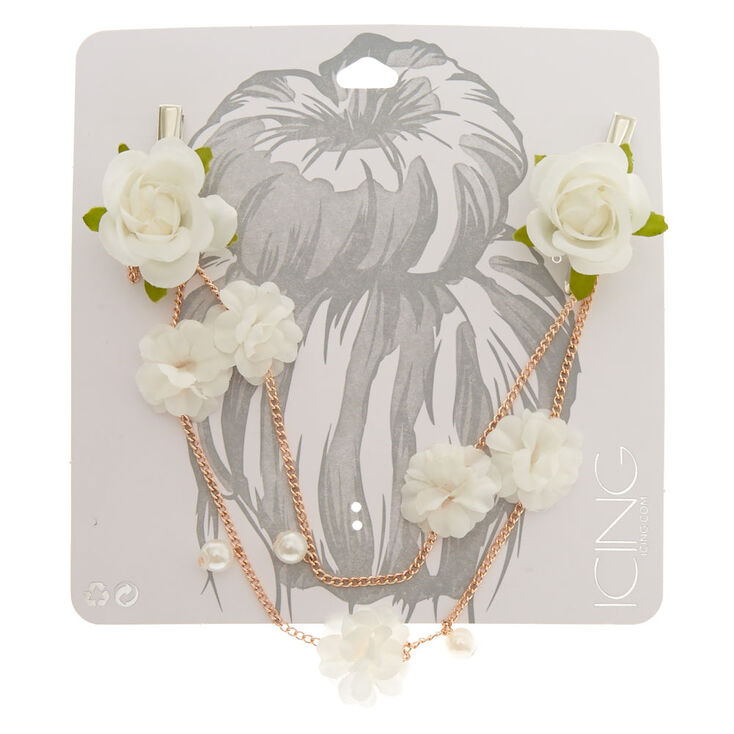 White Paper Rose Gold Chain Hair Swag Clips,