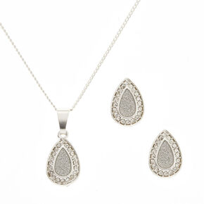 Pear Halo Jewelry Set,