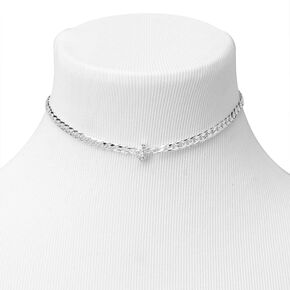 Silver Embellished Initial Chain Choker Necklace - J,