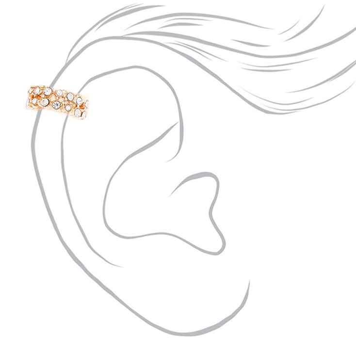Rose Gold Embellished Twist Ear Cuffs - 3 Pack,