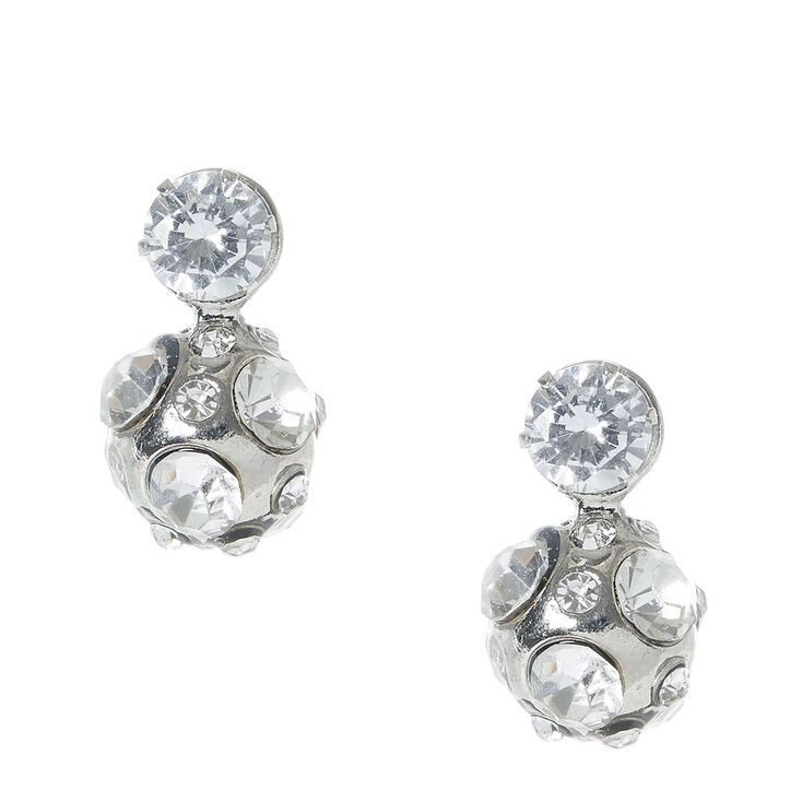 Silver tone Fireball Front & Back Stud Earrings,