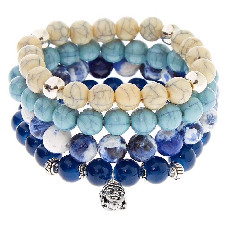 Marble Beaded Stretch Bracelets - Blue, 4 Pack,