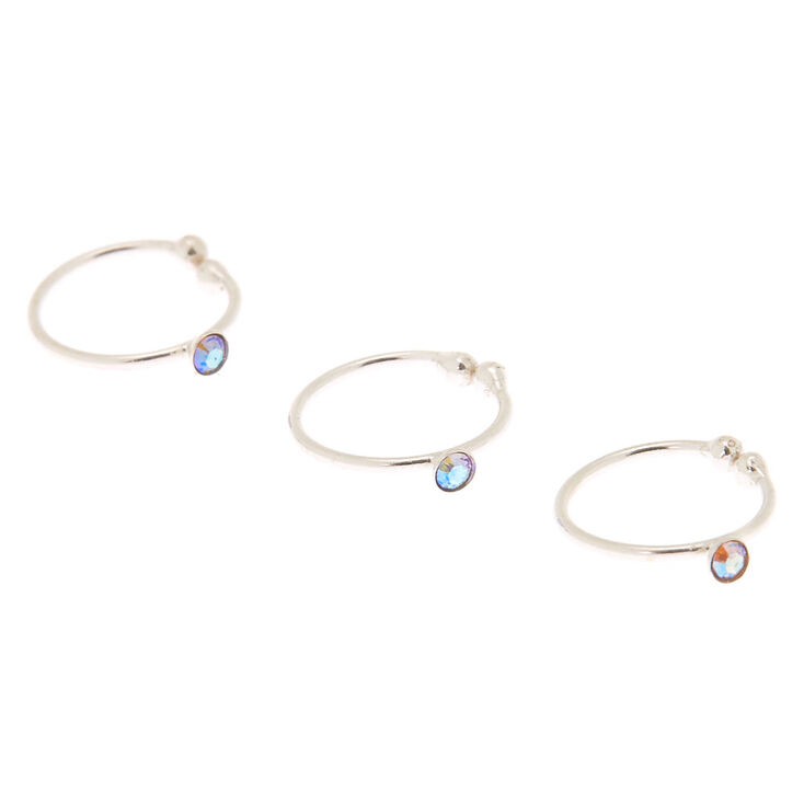 Silver Swarovski® Crystal Faux Nose Ring - 3-pack,
