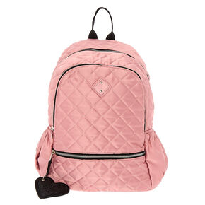 Satin Quilted Functional Backpack - Pink,