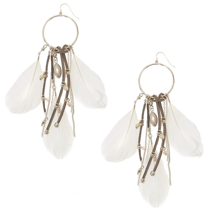 Large Feather Dream Catcher Drop Earrings,
