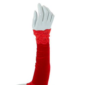 Velvet Lace Arm Warmers - Red,