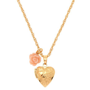 Gold Engraved Heart Locket Pendant Necklace,