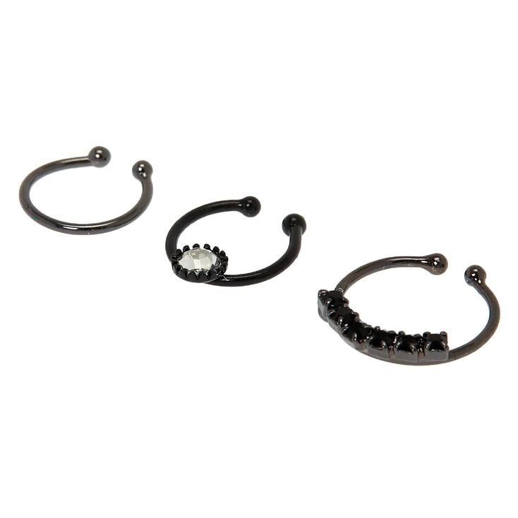 Hematite Crystal Faux Cartilage Hoop Earrings - 3 Pack,