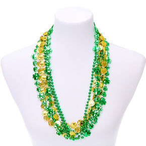 Beaded Lucky Necklaces - Green, 6 Pack,