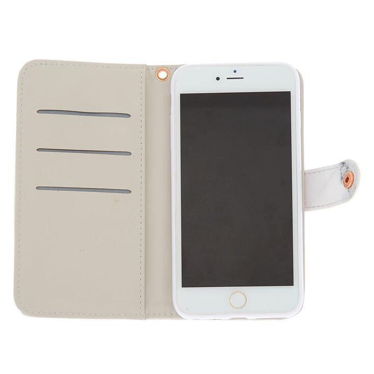 Marble & Rose Gold Folio Phone Case - Fits iPhone 6/7/8/SE,