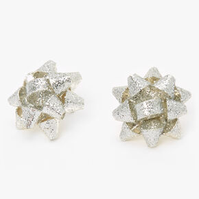 Glitter Bow Stud Earrings - Silver,