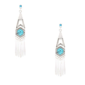 "Silver 3"" Boho Drop Earrings,"
