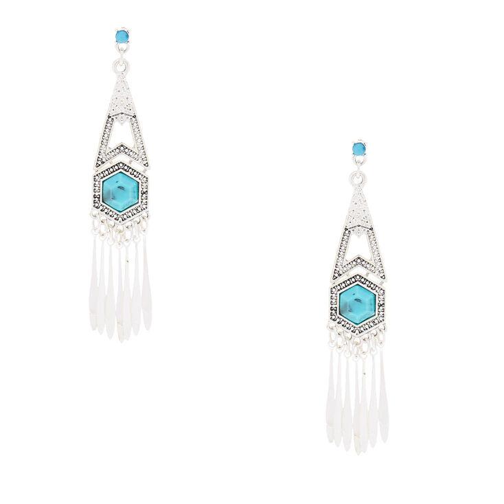 """Silver 3"""" Boho Drop Earrings,"""