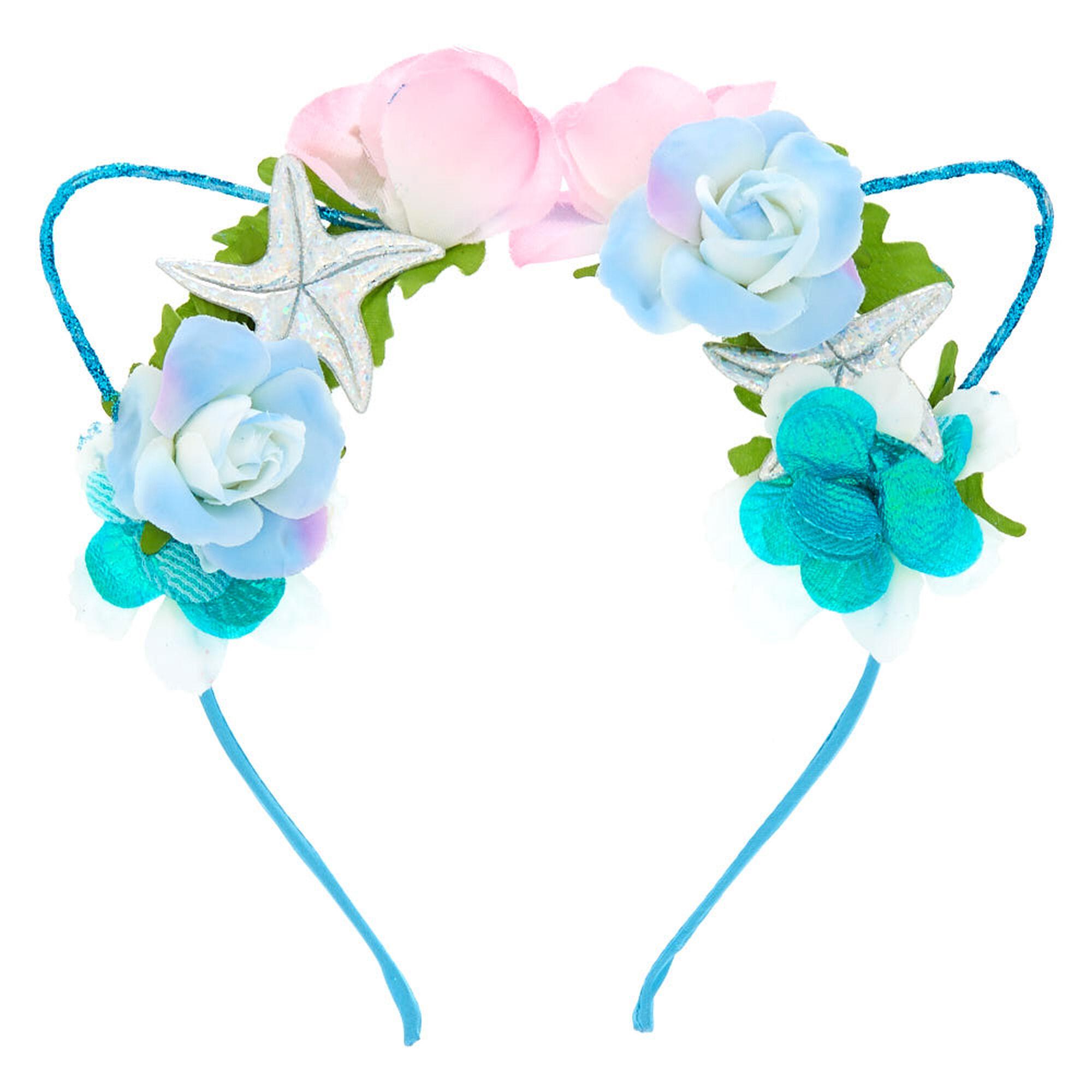 Holographic Mermaid Cat Ears Flower Crown Headband Icing Us