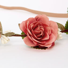 Dusty Pink Rose Flower Crown Headwrap,