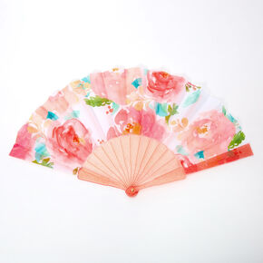 Watercolor Floral Folding Fan - Coral,