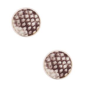 Snakeskin Round Stud Earrings,