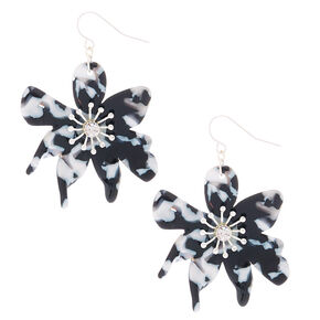 "Silver 1.5"" Resin Flower Drop Earrings - Black,"