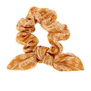 Silky Paisley Knotted Bow Hair Scrunchie - Mustard,