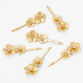 Gold Double Flower Hair Pins - 6 Pack,