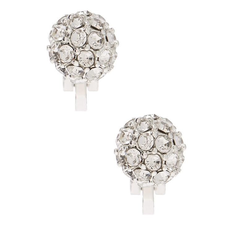Silver Fireball Clip On Stud Earrings,