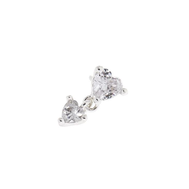 Cubic Zirconia 16G Heart Drop Tragus Earring,