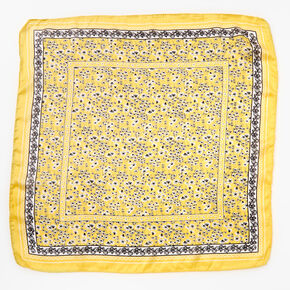 Ditsy Floral Silky Bandana Headwrap - Yellow,