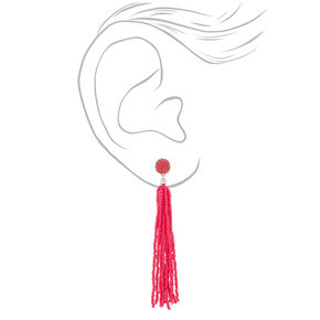 "4.5"" Beaded Tassel Drop Earrings - Hot Pink,"