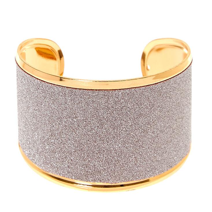 Silver Glitter Tape Cuff Bracelet,