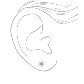 Sterling Silver Crystal Snowflake Stud Earrings - Blue,