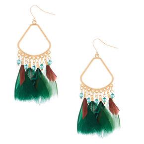 """3"""" Feather Chandelier Drop Earrings - Green,"""