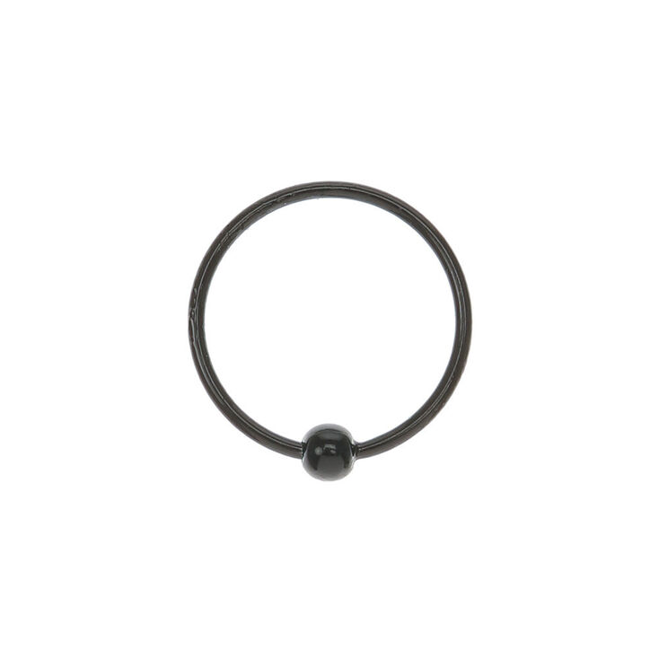 Sterling Silver Beaded Nose Ring - Black,