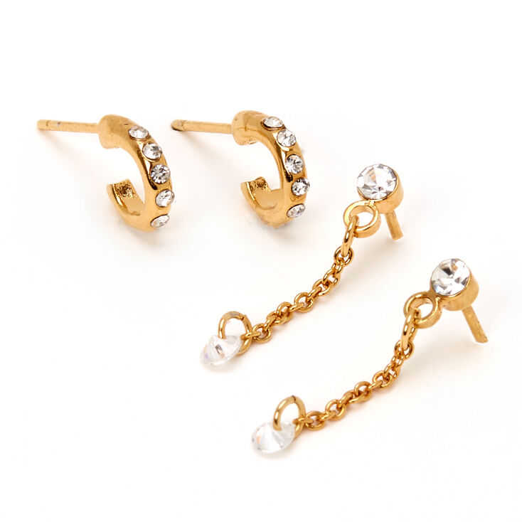 18kt Gold Plated Embellished Chain Hoop Mixed Earrings - 2 Pack,