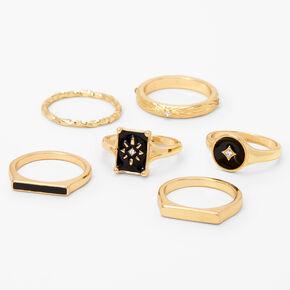 Gold Starburst Enamel Rings - Black, 6 Pack,