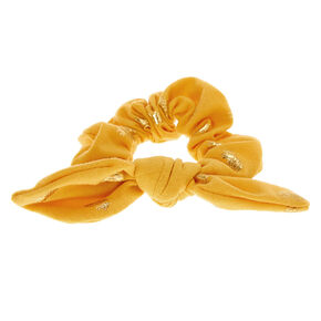 Small Pineapple Knotted Bow Hair Scrunchie - Yellow,