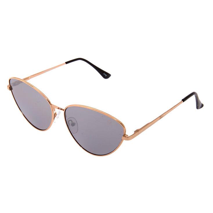Smokey Cat Eye Metal Sunglasses,