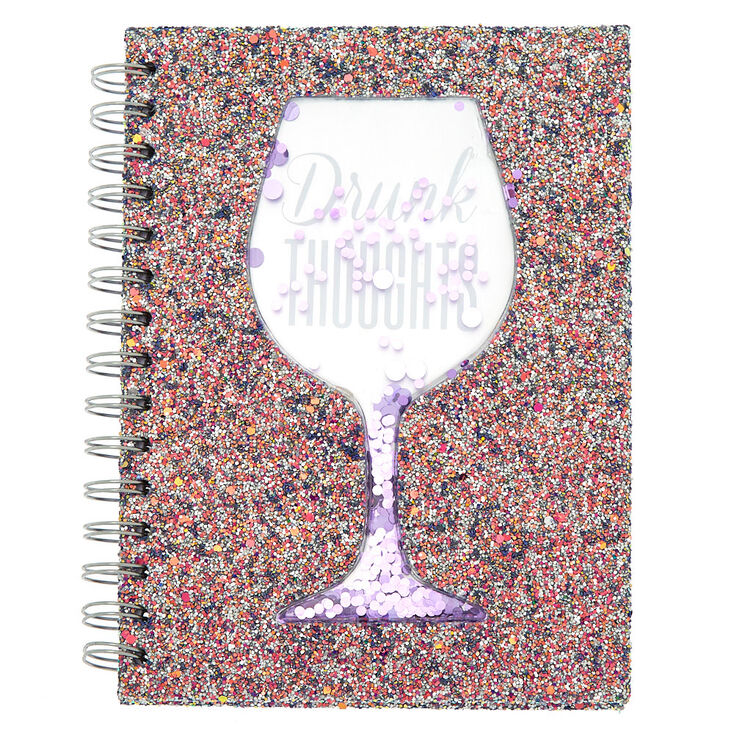 Drunk Thoughts Shaker Sequin Notebook - Purple,
