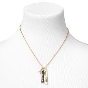 Gold Rectangular Zodiac Pendant Necklace - Pisces,
