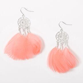 "Silver 3"" Feather Dreamcatcher Drop Earrings - Pink,"