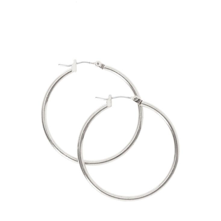 Small Smooth Silver Hoop Earrings,