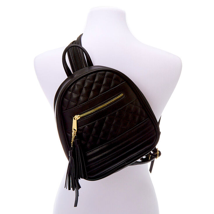 Zippered Strap Quilted Small Backpack - Black,