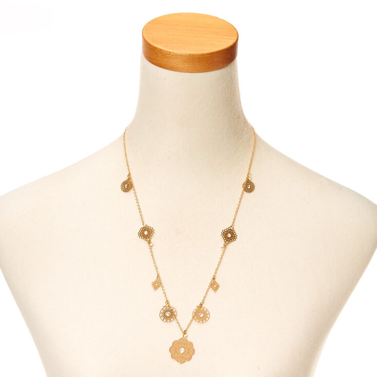 Rose Gold Filigree Discs Long Necklace,