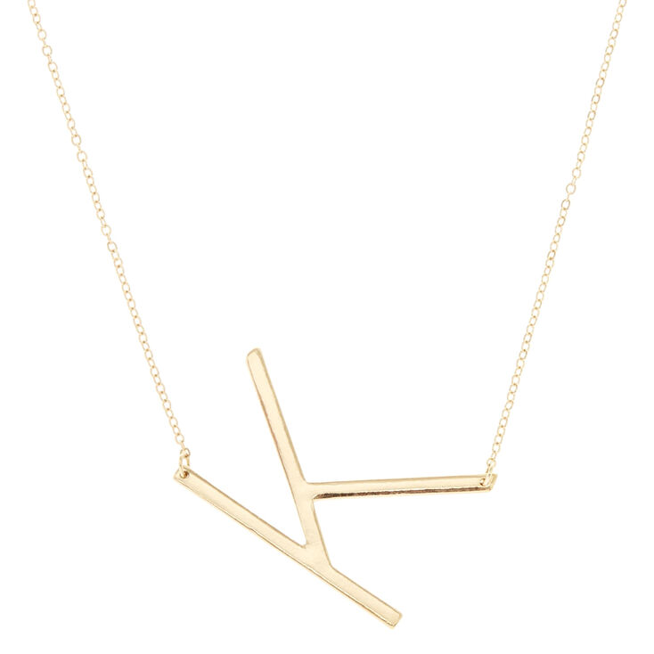"""XL """"K"""" Initial Pendant Necklace,"""