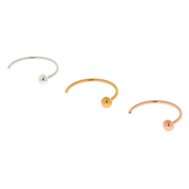Sterling Silver 22G Mixed Metal Open Hoop Nose Rings - 3 Pack,